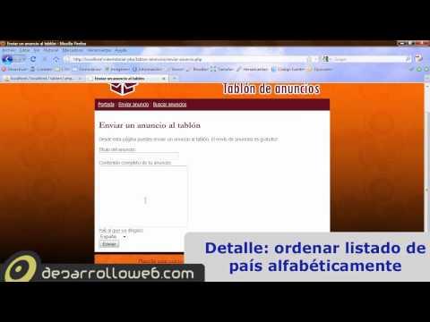 Aplicación Tablón de anuncios en PHP: portada y enviar anuncio