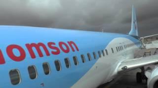 boarding Thomson Flight TOM 485 at Marrakech's Menara Airport, Morocco