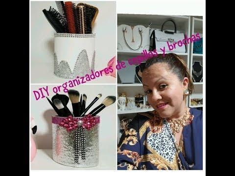 DIY organizador de cepillos y brochas de maquillaje con un tubo de carton 😉🌻🌺😘