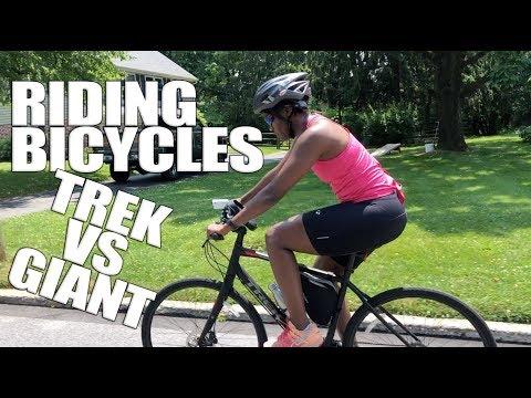 Riding Bicycles Trek VS Giant