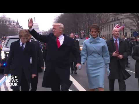 President Donald Trump walks parade route on Inauguration Day 2017