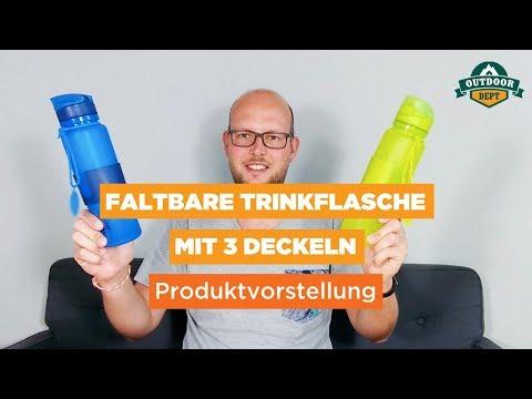 Faltbare Trinkflasche mit 3 Deckeln von OUTDOOR DEPT