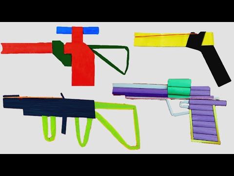 4 Realistic Toy Gun Made by Paper |Origami Paper Gun Shooting Compilation Ak47 vs Pistol vs Hand Gun