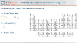 Chemistry Practice Problems: Formulas For Chemical Compounds