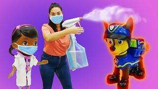 Lustige Schule für Kinder. Chase von der Paw Patrol ist krank. Spielzeug Video auf Deutsch