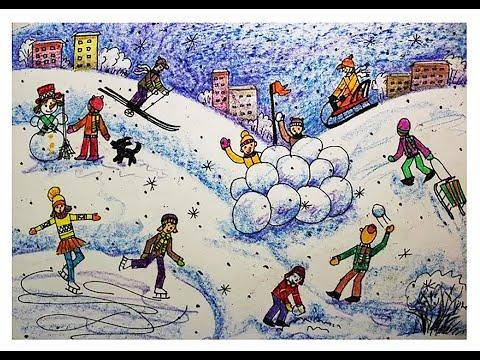 Как нарисовать фигуру человека в движении поэтапно. Зимний пейзаж.Видео урок для детей 6-8 лет.