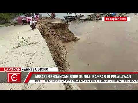 VIDEO: Detik-detik Menegangkan Tebing Sungai Longsor di Pelalawan