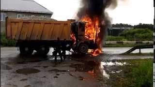 ДТП сгорел очередной китайский грузовик 2 часть