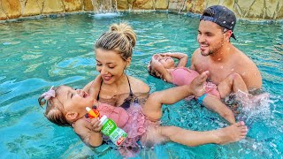 TEACHING BABY TWINS TO SWIM (FIRST TIME)