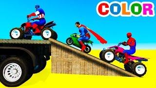 Learn Color Motorbike in Superhero Cars Cartoon for Kids & Colors for Children Nursery Rhymes