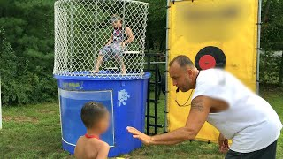 Screaming Ecstatic Kids Dunk In The Tank Boys Versus Girls Challenge Who Is Better?