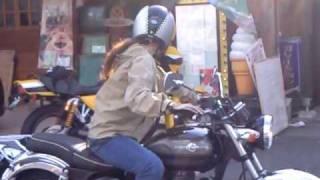 美人ライダー 美女 kawasaki ESTRELLA 250 Motorcycle
