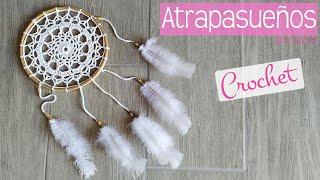 Atrapasueños Rústico Con Mandala De Ganchillo Y Madera. Dreamcatcher Made With Crochet Mandala.