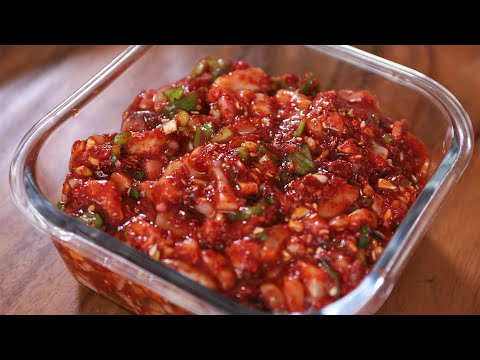 Spicy fermented squid side dish (Ojingeo-jeot: 오징어젓)