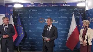 Donald Tusk i pytanie od Miłosza Kłeczka TVP info.