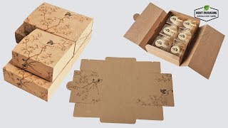 Printed Kraft Paper Gift Box Packaging Wholesale In 4 Sizes For Cake Cookies