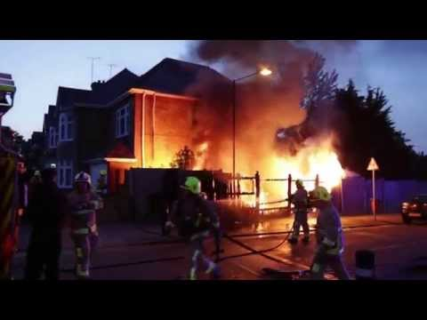 Burning House Fire - Kent Fire and Rescue Put out Flames