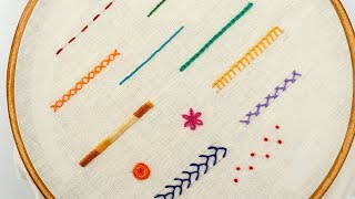 TOP 12 STITCHES IN HAND EMBROIDERY | Tutorial For Beginners