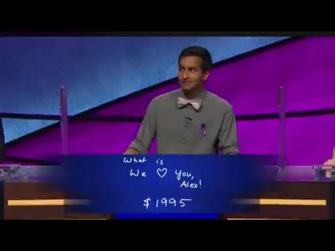Jeopardy contestant's final jeopardy answer makes Alex Trebec Cry!!!!
