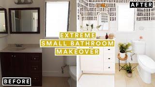 EXTREME SMALL BATHROOM MAKEOVER + DIY WALLPAPER FOR 2020 *Crazy Transformation!*