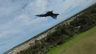 Pilot Dan flying the Freewing Gripen chased by Pilot Len DJI FPV
