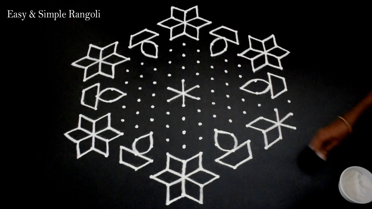 dotted rangoli design 15 * 8 dots for festivals by sangeetha