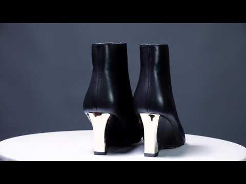 Keilabsatz Schwarz Damen Schuhe Mit Absatz 2018 Damenstiefel Ankle Boots Leder - Ricici