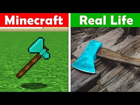 MINECRAFT DIAMOND AXE IN REAL LIFE! Minecraft vs Real Life animation CHALLENGE