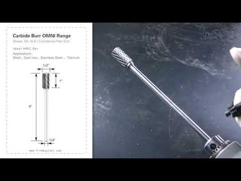 FindBuyTool Carbide Burr SA-5L6 Cylinderical Plan End OMNI Range Head D 1/2 x 1L , 1/4 Shank, 6 Inch Full Length