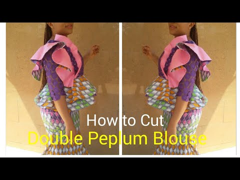 How to cut a Double layer peplum blouse