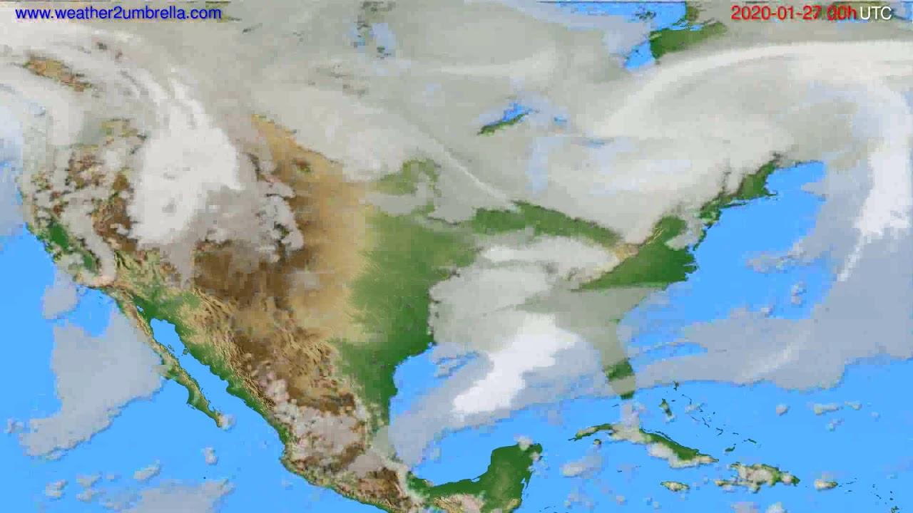 Cloud forecast USA & Canada // modelrun: 00h UTC 2020-01-26