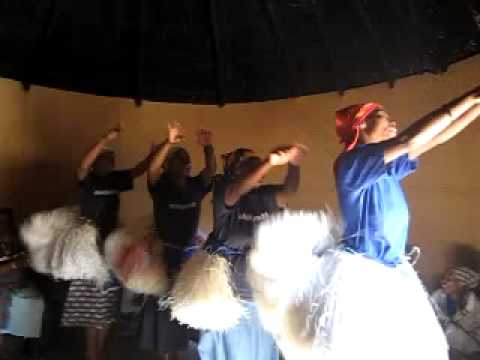 Traditional Lesotho dance in a traditional house