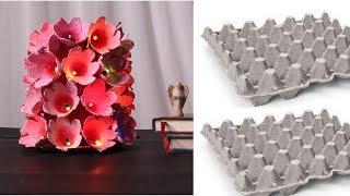 DIY Handmade Egg Carton Table Lamp  Idea/ Easy Egg Carton Craft For Home Decor By Aloha Crafts