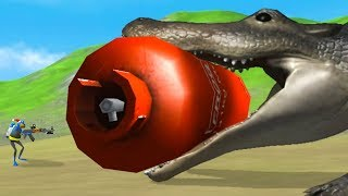 GIANT ALLIGATOR vs GIANT RED TANK - Amazing Frog Part 185 | Pungence