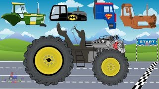 Tractor Racing For Kids   Tractor VS Truck   Racing Street Vehicles for Children   Video For Kids