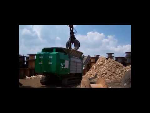 Komptech Terminator Industrial Shredder Processing Wooden Spools