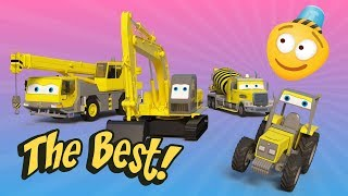 Building Machinery Race   Excavator, Crane, Tractor   Trucks for Kids   Car Challenge 3d   KidsVids