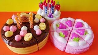 Toy cutting velcro cakes strawberry chocolate custard vanilla fruit cake sponge cake