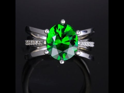 Chrome Tourmaline and Diamond Ring 3.47 Carat