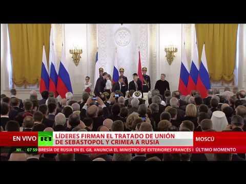Putin da la bienvenida a Crimea y Occidente rechaza el tratado