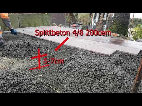 Sitzplatz Granitplatten Porphyr Rot im Beton verlegen/Kleber