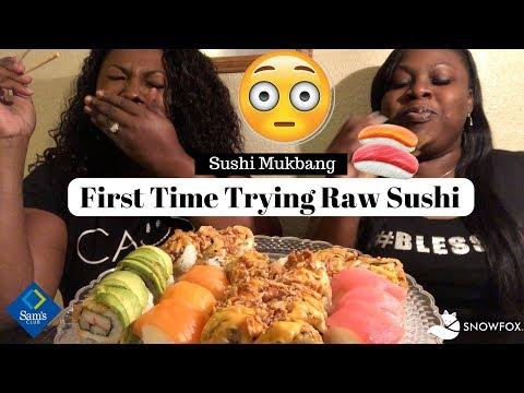 SUSHI MUKBANG | SAM'S CLUB SUSHI REVIEW | SNOWFOX SUSHI REVIEW | FIRST TIME TRYING RAW SUSHI