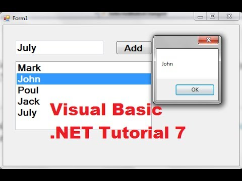 Visual Basic .NET Tutorial 7 – How to use a Listbox in VB.NET