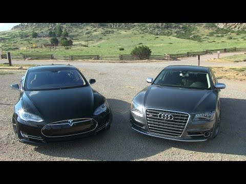 2013 Tesla Model S P85 vs Audi S8 0-60 Mashup Review