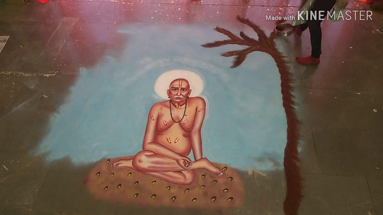 shri swami samarath maharaj portrait rangoli design by rajshri bhagwat