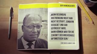 Videothumbnail des Jubiläumsfilms: aufgeschlagenes Notizbuch - links Foto von Heinz Maier-Leibnitz, rechts ein Zitat von ihm