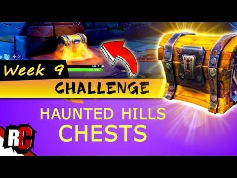 Fortnite WEEK 9 Challenge Haunted Hills Treasure CHEST Locations Treasure Chest Map Locations