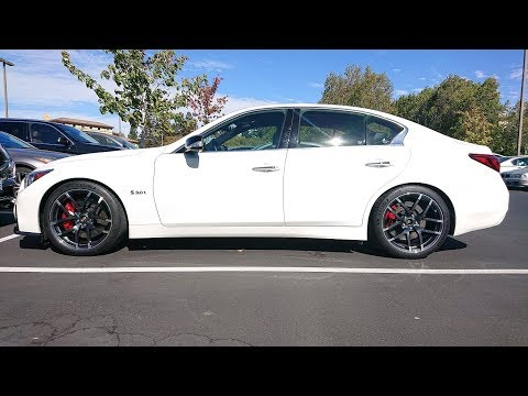 Infiniti Q50 Red Sport AWD Factory wheel to Nismo Z wheel comparison 2 of 2