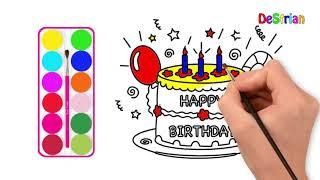 Menggambar Dan Mewarnai Kue Ulang Tahun मफत ऑनलइन