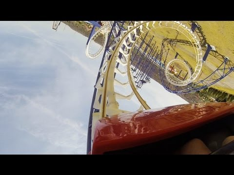 Mexican Chinese Knock-Off Loop-Screw Roller Coaster POV Parque Bicentenario Mexico